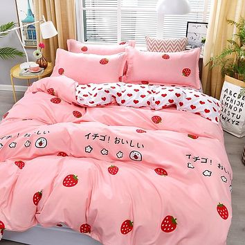 4pcs Pink Strawberry kawaii Bedding Set Luxury Queen Size Bed Sheets Children Quilt Soft