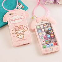 3D Cute Pink My Melody Rabbit Silicone Soft Case cover for iphone 7 plus 6 6S 5S