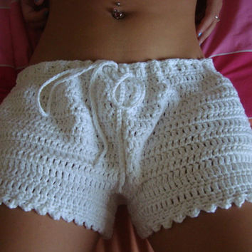 Crochet Shorts - Women Crochet Boy Shorts in White Cotton - Size L, XL and Bigger - Any Color - Spring - Summer - Mothers Day - Gift for Her