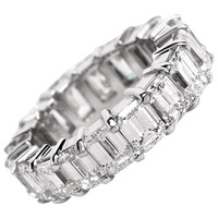 Dazzling 10.40 Carats Emerald-Cut Diamond Platinum Eternity Band Ring