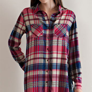 Country Plaid Tunic Top