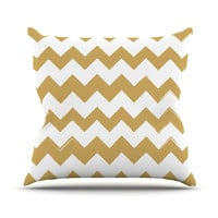 "KESS Original ""Candy Cane Gold"" Chevron Outdoor Throw Pillow"