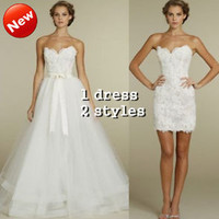 Short Lace Wedding Gowns with Removable Skirt Bridal Reception Dresses