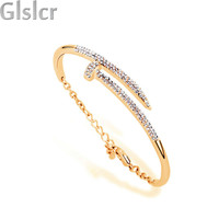 new 100% rose gold Screw brand design stainless steel 316L carved logo with without crystal bangle bracelet jewelry 75394