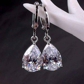 Raindrop Diamond Dust Infused Gold Plated Dangling Crystal Earrings for Women Special Occasions