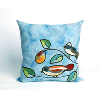 Trans Ocean Import 7SC2S411903 Song Birds Blue Pillow