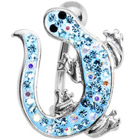 Aqua Cubic Zirconia IZZY LIZZY Curvaceous Belly Ring   Body Candy Body Jewelry
