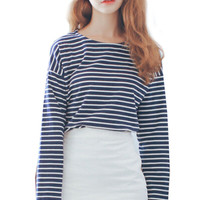 Black and White Stripe Round Neck Long Sleeve Top