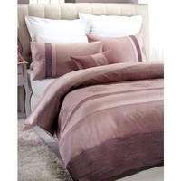 4 Pce Medallion Mauve Embroidered Quilt Cover Set + Cushion by Belmondo
