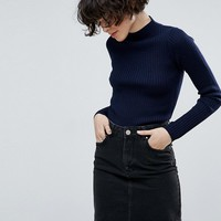 ASOS Sweater With Turtleneck In Rib at asos.com
