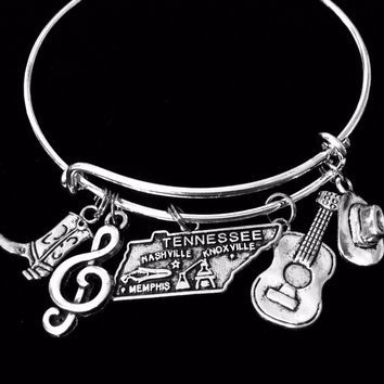 Nashville Tennessee Adjustable Charm Bracelet Memphis Expandable Silver Bangle Cowboy Hat Country Music Guitar One Size Fits All Gift