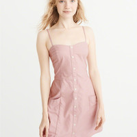 Womens Button-Up Mini Dress | Womens Dresses & Rompers | Abercrombie.com
