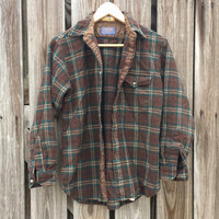 Vintage 1970s Pendleton LOBO Flannel Shirt - Brown Plaid - Tartan Plaid - Lumberjack