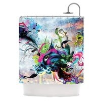 """Kess InHouse Mat Miller """"Streaming Eyes"""" Multicolor Abstract Shower Curtain, 69 by 70-Inch"""