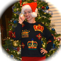 Small Ugly Christmas Sweater, With Bling King Crowns
