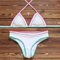 Multicolor Halter Beach Bikini Set Swimsuit Swimwear