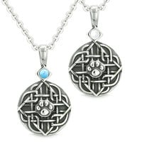 Amulets Love Couple or Best Friends Celtic Wolf Paw Simulated Turquoise White Cats Eye Pendant Necklaces