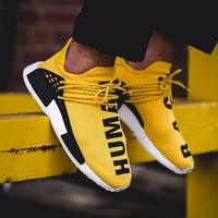 Sale Pharrell Williams x Adidas Consortium NMD Human Race Yellow Sport Running Shoes Classic Casual Shoes Sneakers-1