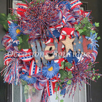 Fourth of July Wreath, July 4th Wreath, Summer Wreath, Door Hanger, July 4th Decoration, Front door wreaths, Large wreath, Ready to Ship