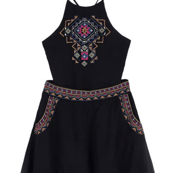 Black Embroidery Cami Crop Top And High Waist Shorts