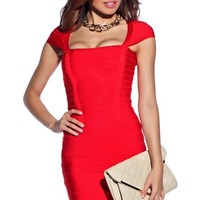 Sexy Red Shoulder Cut-Out Bandage Dress