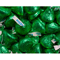 Hershey's Kisses Dark Green Foiled Milk Chocolate Candy: 4LB Bag
