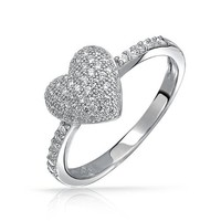 Bling Jewelry Micro Pave CZ Heart Ring 925 Sterling Silver