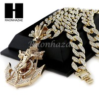 """Men Iced Out Large Anchor Cross Pendant 30"""" Heavy Iced Out Cuban Link Chain N42"""