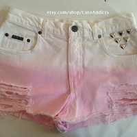 High Waisted Pink Ombre Shorts by CuteAddicts on Etsy