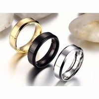 6MM Stainless Steel Men Women Wedding Engagement Anniversary Ring Band Size 5-15