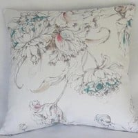 Watercolor Tulips on White Pillow Cover Pink and Aqua Floral