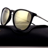 NEW Authentic Ray-Ban ERIKA Black Gunmetal Gold Mirror Sunglasses RB 4171 601/5A
