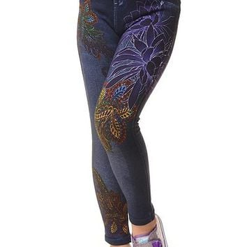 Girls Kids Colorful Floral Paisley Design Stretch Fleece Lined Jeggings
