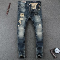 Slim Fit Frayed Hole Ripped Jeans