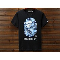 BAPE Summer New Tide Brand Fashion Skull Head Short Sleeve T-Shirt F-A-KSFZ black