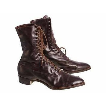 Ladies Vintage Dark Brown Leather Victorian Boots 1910 Sz 5-6