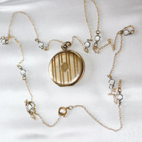 Vintage Locket Necklace Bezel Crystal Chain Opera Length  1940s Vintage Jewelry