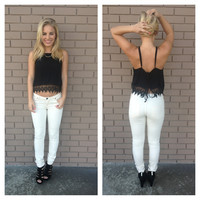 Black Crochet Tie Back Tank