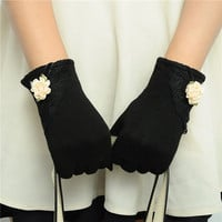 Women Cotton Touch Screen Glove Bow Flower Lace Warm Wrist Gloves Mittens NW