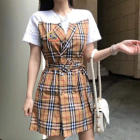 """Dior"" Women Temperament Elegant Multicolor Tartan Middle Sleeve Lantern Sleeve High Waist Frills Fishtail Mini Dress"