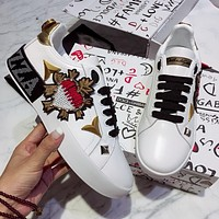 DOLCE & GABBANA Fashionable and recreational small white shoe-12