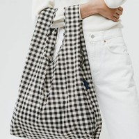 Black Gingham Market Bag - Black