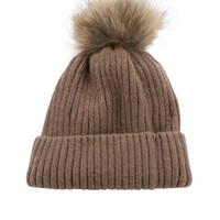 Rib Knit Tuque with Coyote Fur | Lord & Taylor