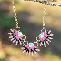 Bursting With Color Necklace-Mint