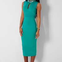 Dazzle Green Embellished Mesh Bodycon Midi Dress   Pink Boutique