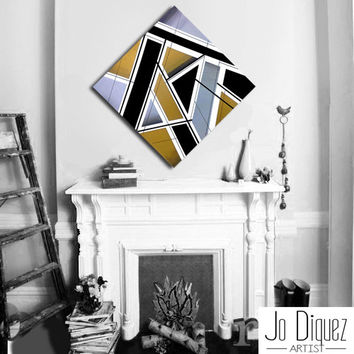 Made to order. Original abstract painting on canvas. 33 3/4x33 3/4. Geometric with silver, gold, black. Canvas art. Big painting. Metallic