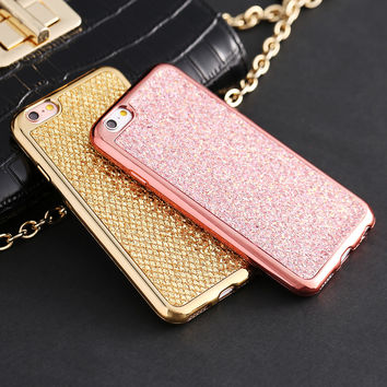 For iphone 6 6S / Plus Luxury Glitter Diamond Powder Case Gold Plating Edge Soft TPU Cover Shining Sexy Girly Coque For iphone6