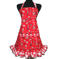 Retro Kitchen Apron for Women , Coca Cola Red with Ruffle , Coke Bottles ,