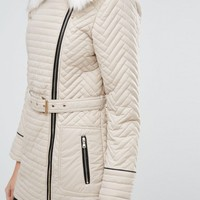 New Look Faux Fur Quilted Biker Jacket at asos.com