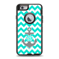 The Teal Green and Gray Monogram Anchor on Teal Chevron Apple iPhone 6 Otterbox Defender Case Skin Set
